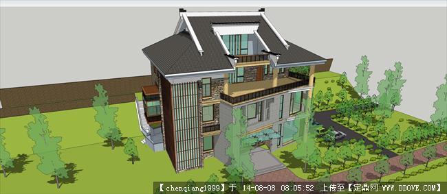 豪华农村别墅建筑规划设计su模型