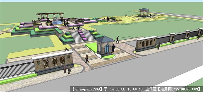 某商业区入口处景观规划设计su模型