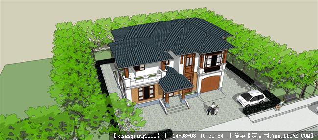 现代大型中式别墅建筑规划设计su模型