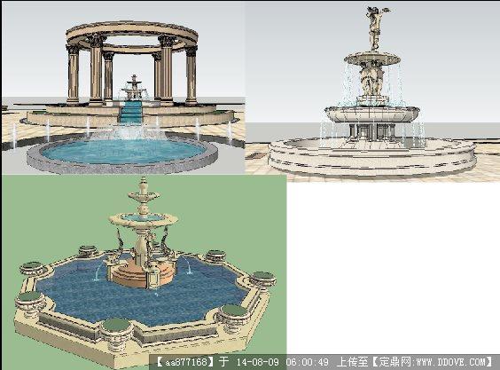 三个欧式雕塑喷泉景观设计su精细模型