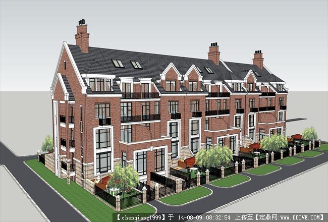 超低价英式别墅建筑规划设计su模型