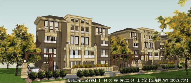 超低价欧式别墅组团建筑设计方案su模型