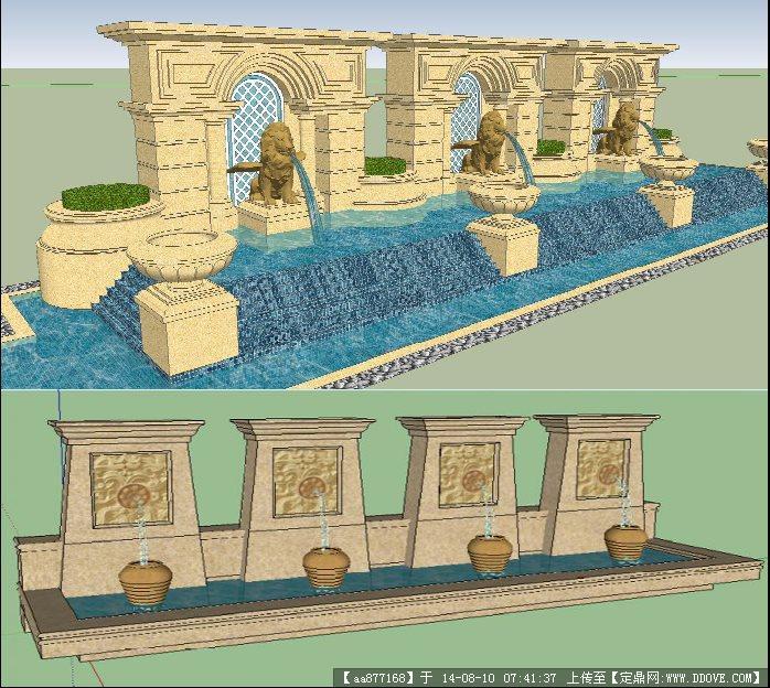 两个欧式水景墙景观设计su精细模型的下载地址