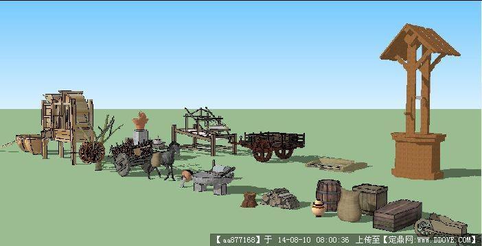 村寨规划农具景观小品设计su精细模型