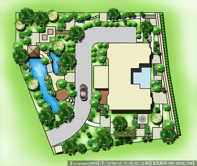 别墅庭院设计 彩色平面图图片
