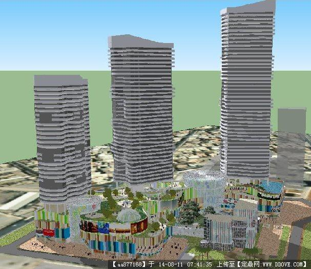 sketchup草图大师模型 建筑模型 一个滨海度假酒店项目建筑规划设计方