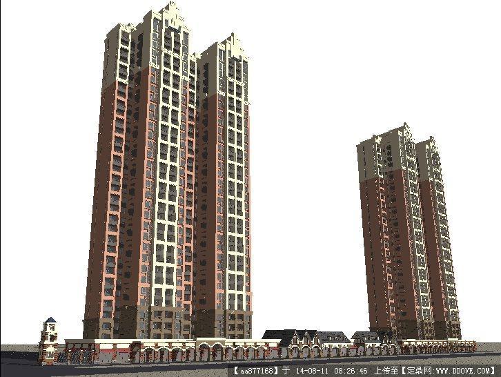 英式与新古典风格高层商业住宅小区建筑设计su精细模型图片