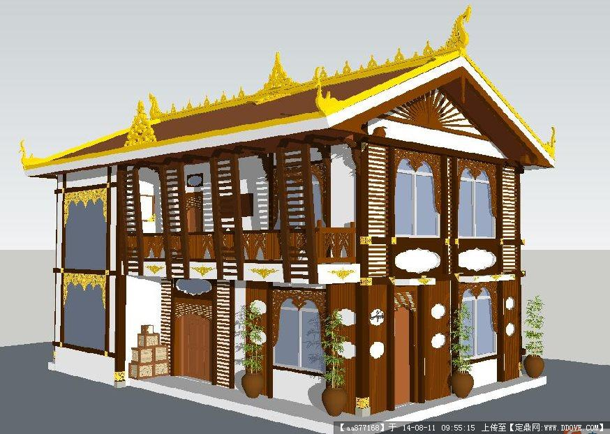 农村新中式建筑模型