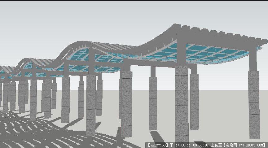 一个漂亮的弧形廊架景观设计su精细模型