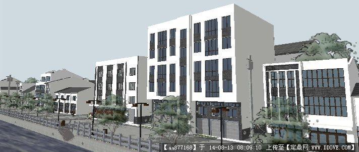 现代中式风格滨河商业街建筑设计方案su精致设计模型
