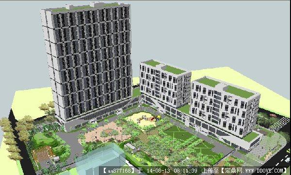青年公寓小區建筑與景觀設計方案su精致設計模型