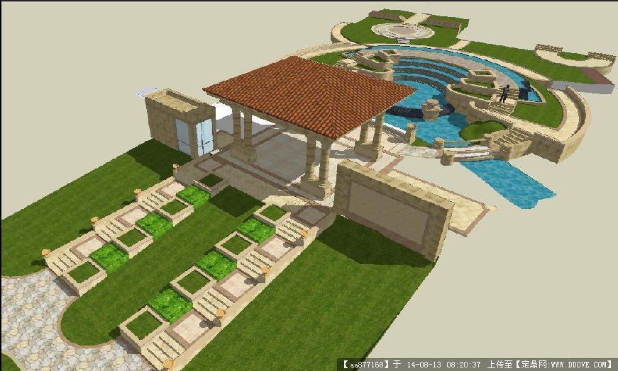 欧式小区入口景观设计方案su精致设计模型