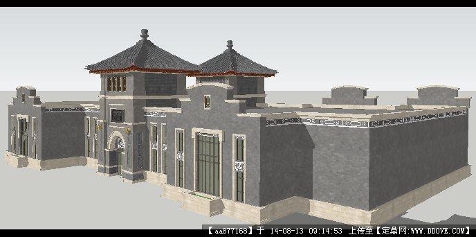 某新中式会馆建筑设计方案su精致设计模型图片