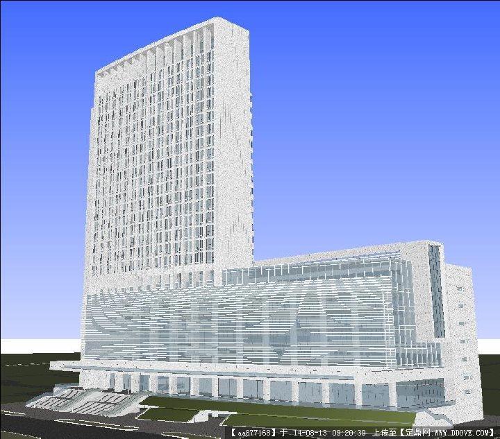 现代综合医院大楼建筑设计方案su精致设计模型