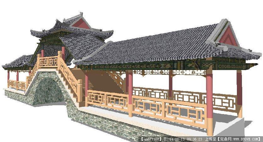 仿古中式廊桥景观设计su精致设计模型
