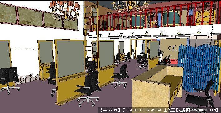 一个理发店室内装修设计方案su精致设计模型