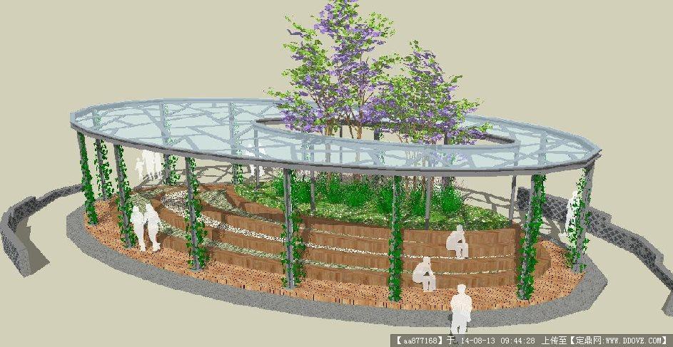 景观小品——玻璃廊架景观设计su精致设计模型