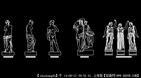 欧式雕塑立面图cad图块