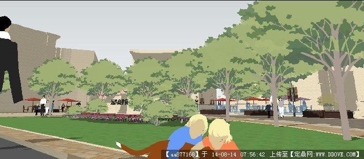 远洋欧式商业街景观规划设计su精致设计模型