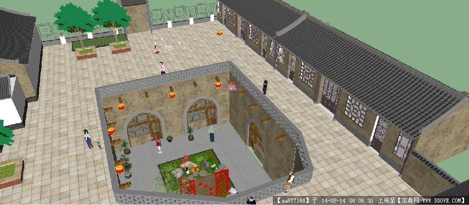 陕北窑洞式农家乐中庭景观设计su精致设计模型
