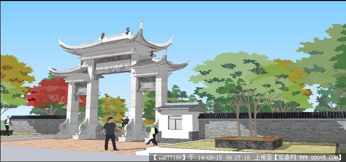 古建院墙及大门设计图   某地酒业有限公司古建筑大门建筑