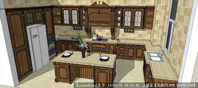 天鹅湖d岛18号室内装修设计橱柜su模型