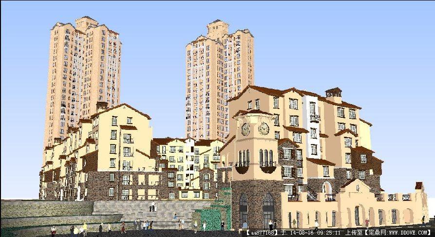 地中海风格小区规划方案SU精致设计模型.rar