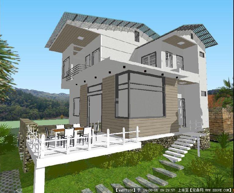 现代豪华小别墅建筑设计方案su精致设计模型