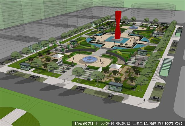 公园景观设计方案鸟瞰效果图和su模型