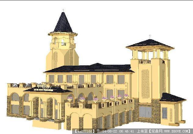 一个欧式塔楼造型售楼处会所建筑设计su精致设计模型