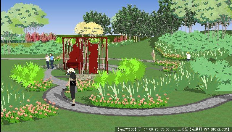公园景观小节点设计方案su精致设计模型