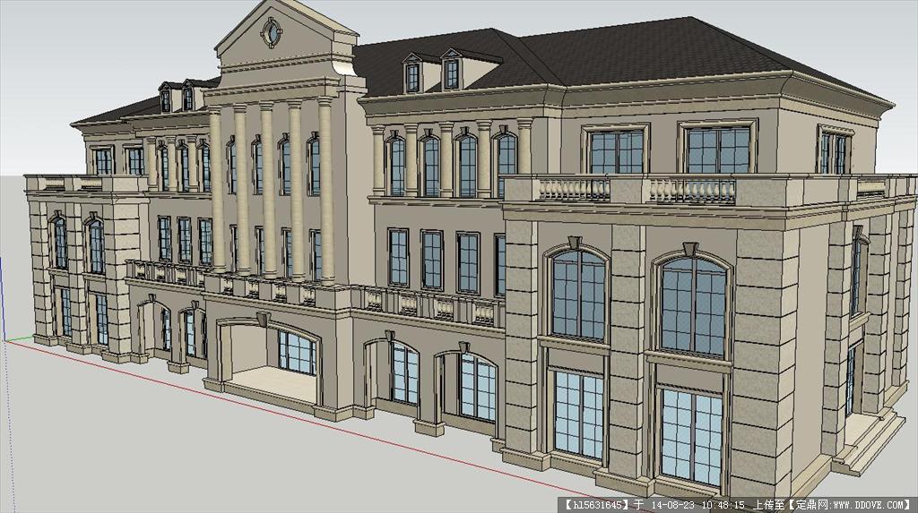 欧式办公楼建筑设计方案su精细模型