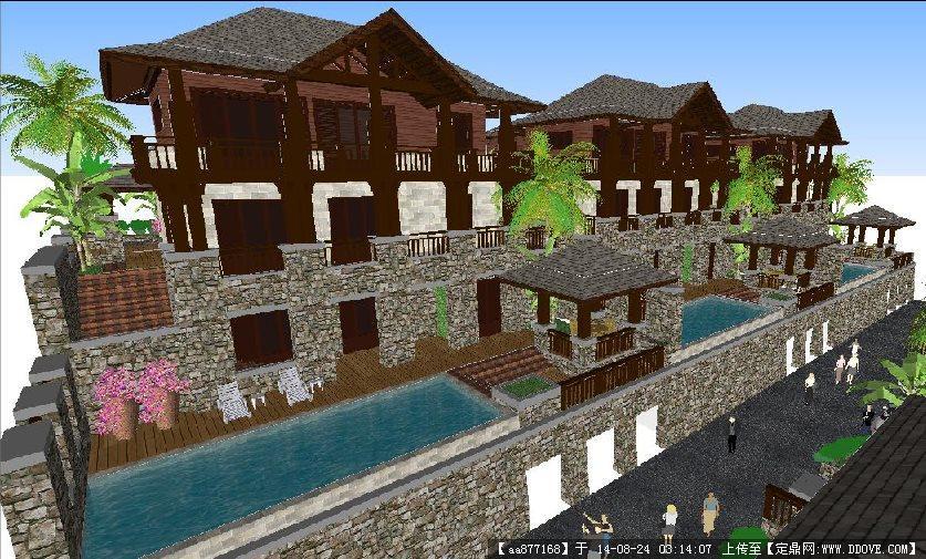 东南亚风格独栋度假别墅建筑及景观SU精致设计模型