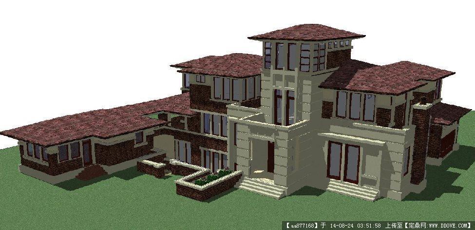 草原风格独栋大别墅建筑设计方案su精致设计模型
