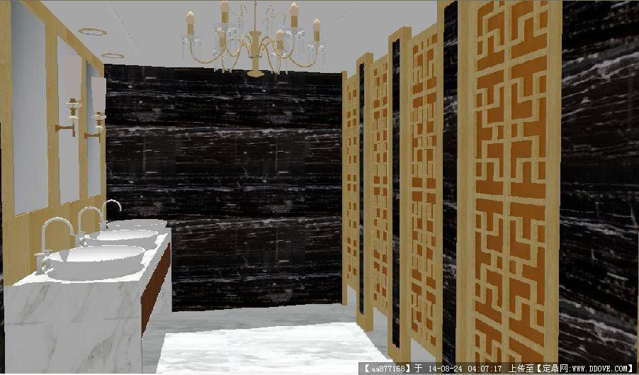 一套酒店洗手间室内设计方案su精致设计模型