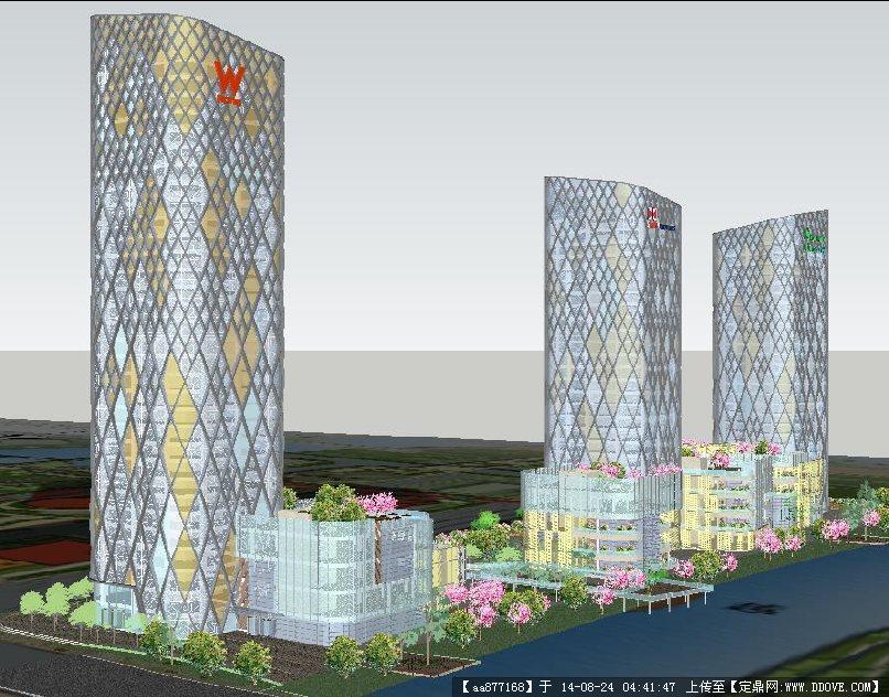 沈阳某花园式商业综合体建筑设计方案su精致设计模型
