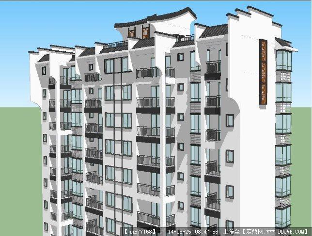 徽派住宅楼建筑设计方案su细致设计模型
