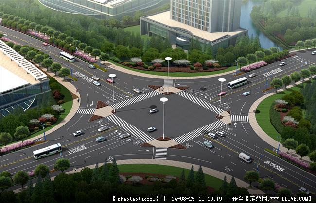 园林效果图 道路景观 道路园林绿化设计平面-效果图