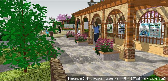 景观长廊设计景观节点效果图