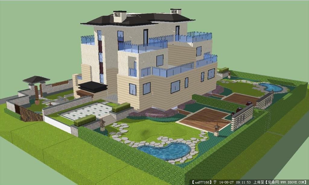 东南亚风格别墅建筑设计及景观设计SU精细设计模型