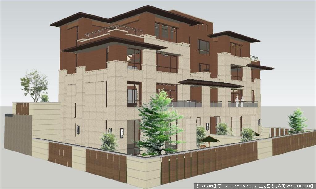 别墅建筑设计方案su精细设计模型,该建筑设计方案独特,模型详