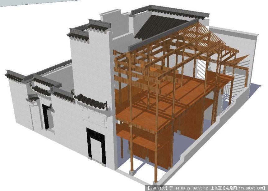 古建结构解析之迪吉堂建筑设计su精细设计模型