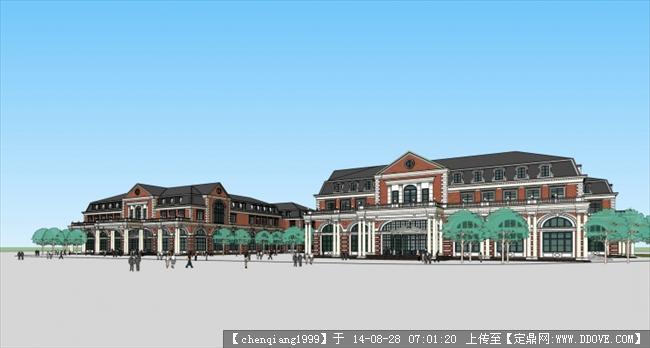 欧式商业建筑规划设计方案su模型,很独特的大型建筑设计模