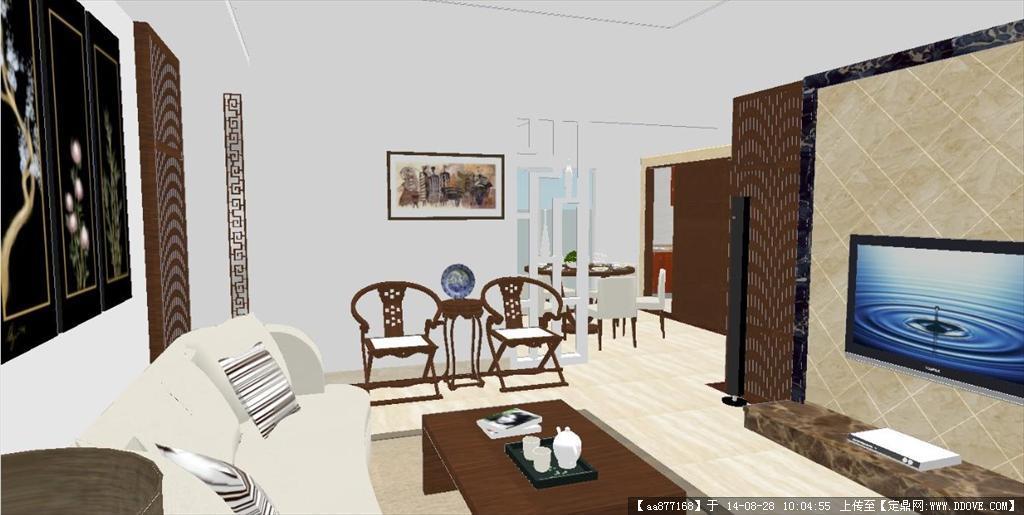 中式样板间室内装潢设计方案sketchup精细模型,很详细的室