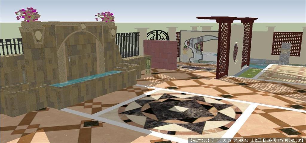 欧式别墅庭院景观设计方案sketchup精致设计模型