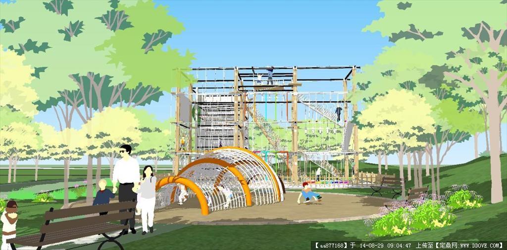 儿童扩展游乐区园林景观设计方案sketchup精致设计的