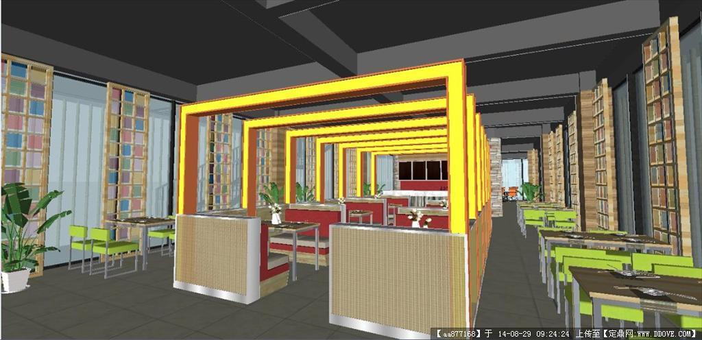 一个现代餐厅装潢设计方案su精致设计模型