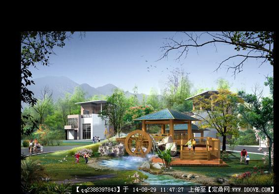 定鼎网 定鼎素材 psd模版 园林效果图 psd水车园林景观设计效果图   1