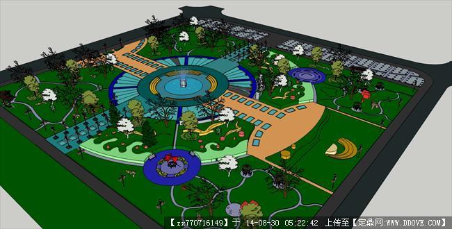 广场设计园林景观精细su模型