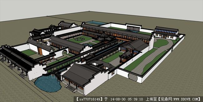 苏州园林 古建筑设计精细su模型